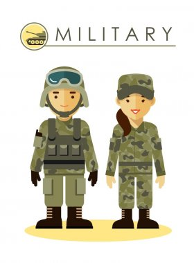Soldier man and woman in military uniform