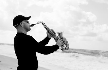 Saxophonist playing on saxophone