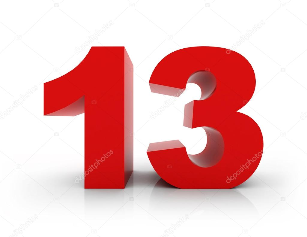 13 - 3d number isolated on a white background — Photo by morenina