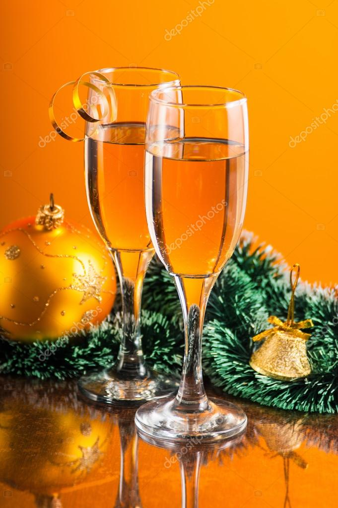 happy new year drinks stock photo