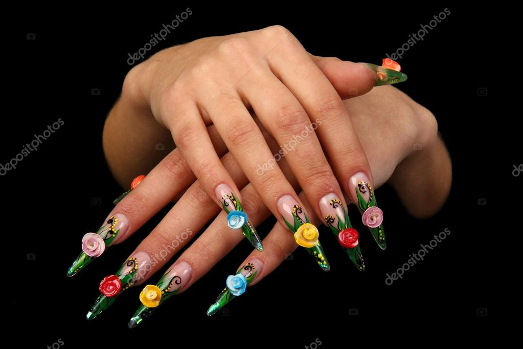 Pretty Woman Hand With Perfect Painted Nails Isolated On Black Background Stock Photo
