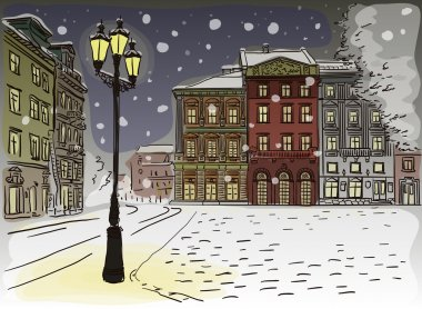 Antique European street. Winter Night city landscape.