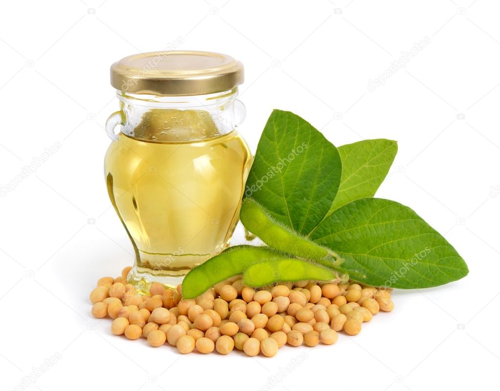 Soybean oil in a bottle with green pods and leawes.
