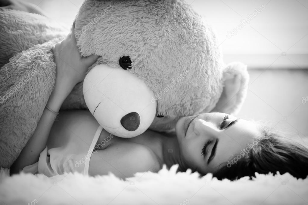 Strip tease with teddy bear