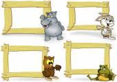 Fényképek Fa keret, melynek állat rajzfilm