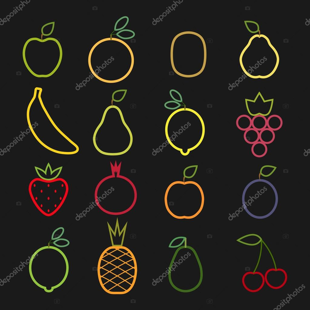 Set of flat fruits  icons drawing with  lines on black background.