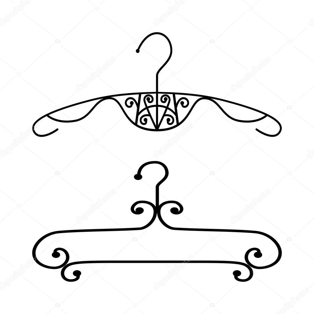 Perchero vintage silueta vector de stock legolena for Perchero con ganchos de ropa