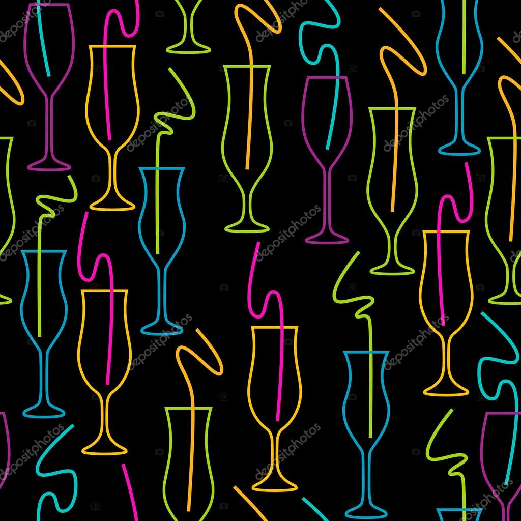 Palm Tree Wallpaper Seamless Pattern Of Glasses Neon Colors On A Black