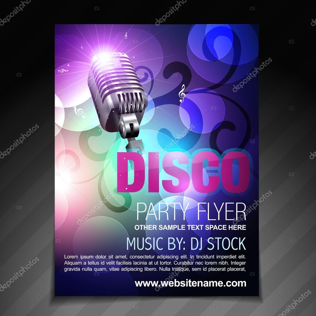 Disco Party-Flyer-Broschüre und Plakat-Vorlage — Stockvektor ...