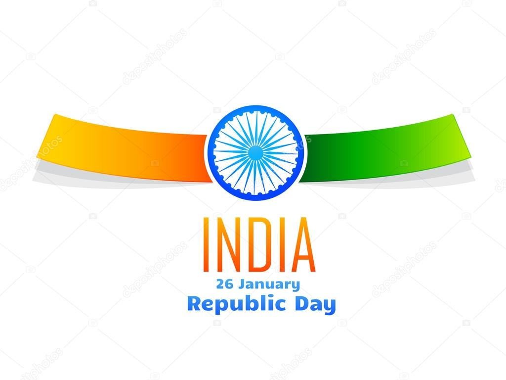 Indian republic day design isolated in white background