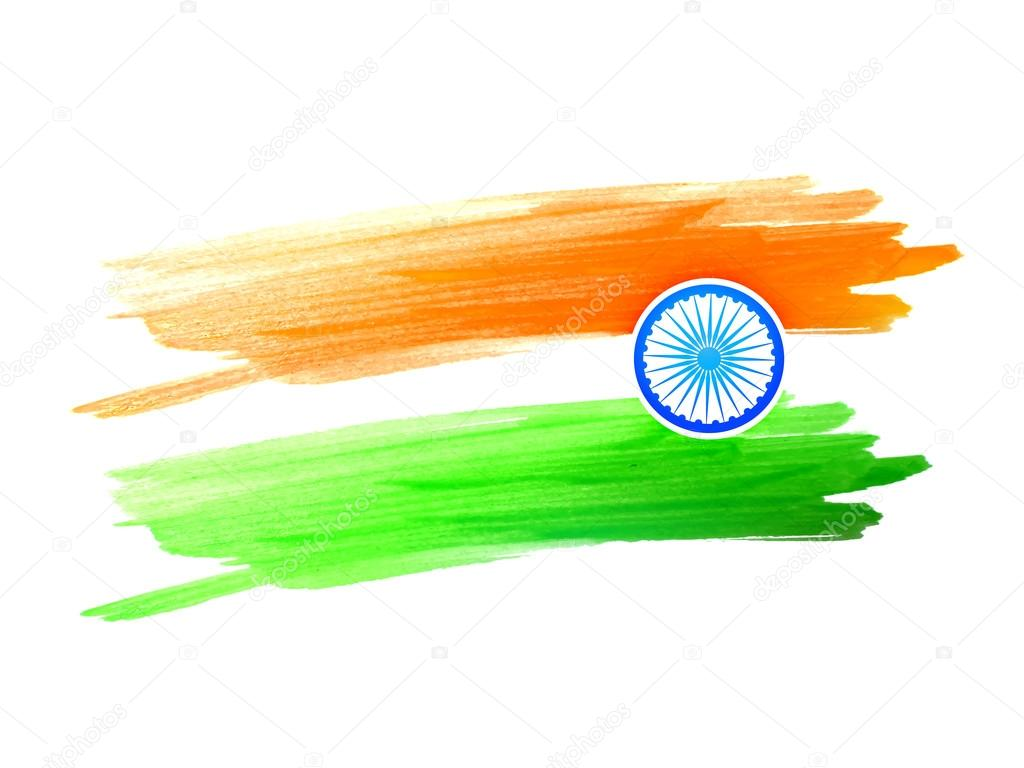 Indian flag design made with color color strokes