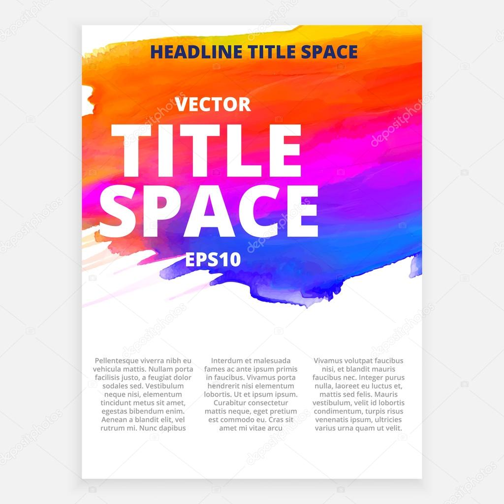 Vector colorful brochure with ink effects