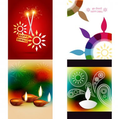 Vector collection of different types of diwali background with colorful diya, shubh deepawali (translation: happy diwali) stock vector