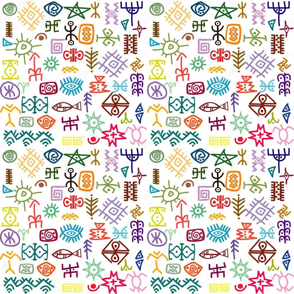 Fondos Tribales De Colores Etnias Tribales Símbolos De Colores De
