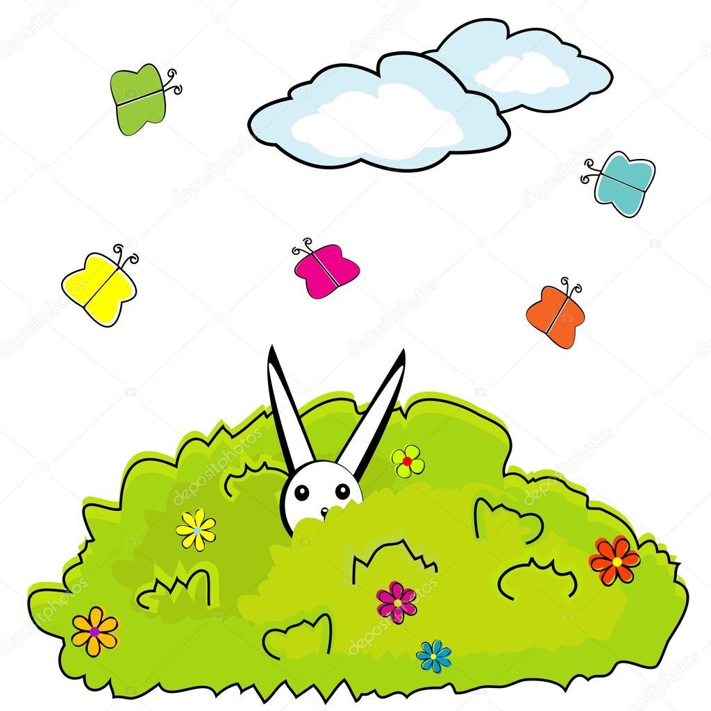 Cespuglio di cartone animato con coniglietto nascosto