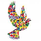 béke galamb koncepció készült a világ zászlók