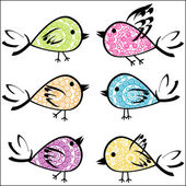 sada barevné vzorované ptáků