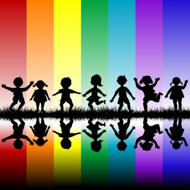 Kids playing over a rainbow