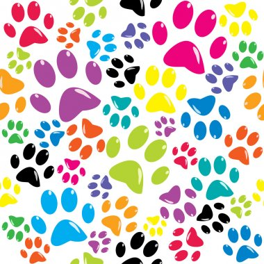 pattern with colored paws