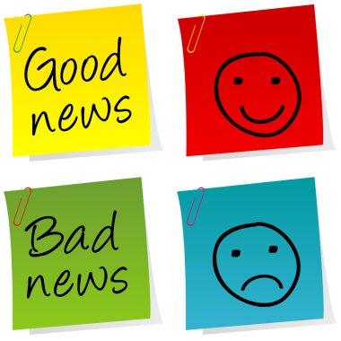 Good news and bad news post it stock vector