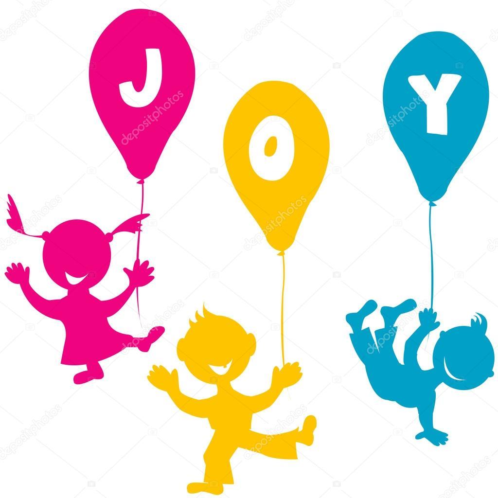 Bambini con palloncini vettoriali stock hibrida13 - Immagine con palloncini ...