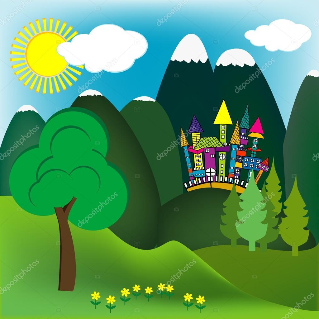 Mountain doodle landscape