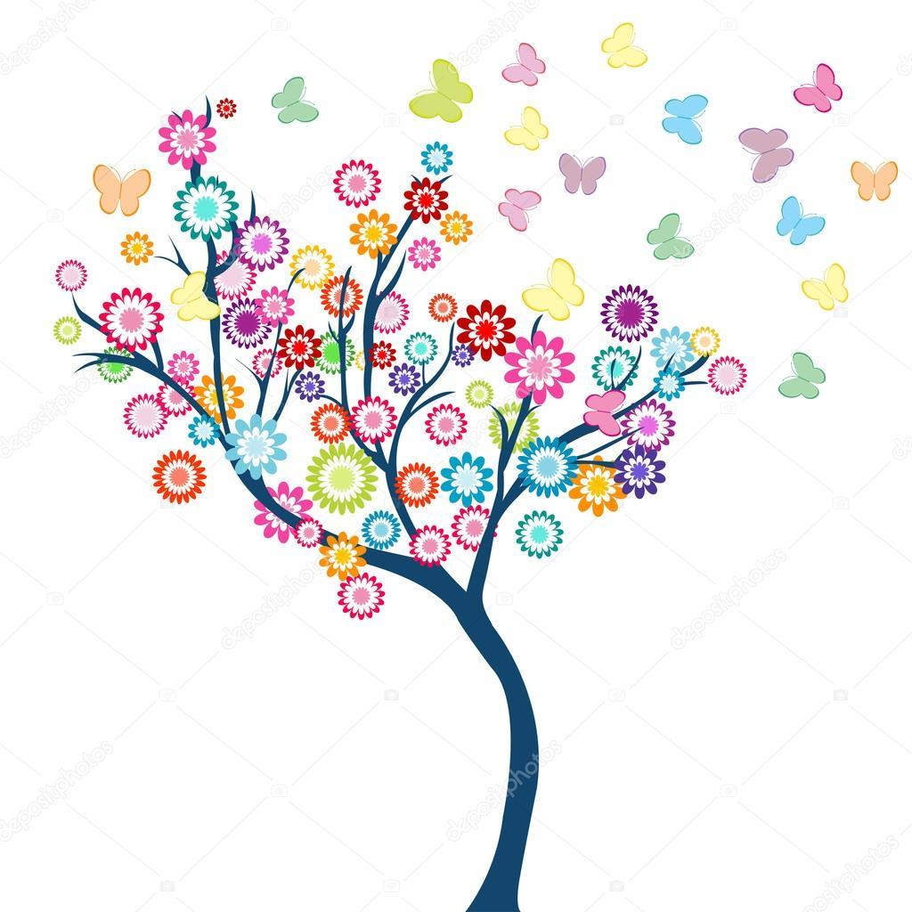 Albero con fiori vettoriali stock hibrida13 55974687 for Albero con fiori blu