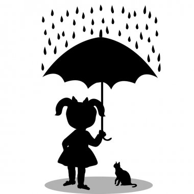 Girl with  cat under  umbrella