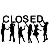 Fotografie Children silhouettes holding letters with word CLOSED in their h