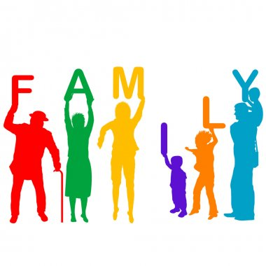 colored silhouettes of children and parents