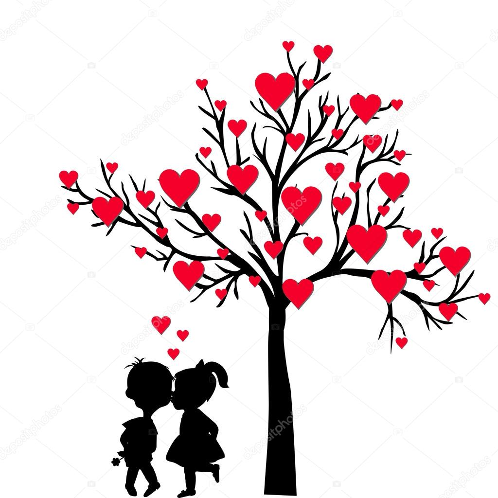 greeting valentines day card with tree of hearts and kids kissi stock vector 63896521