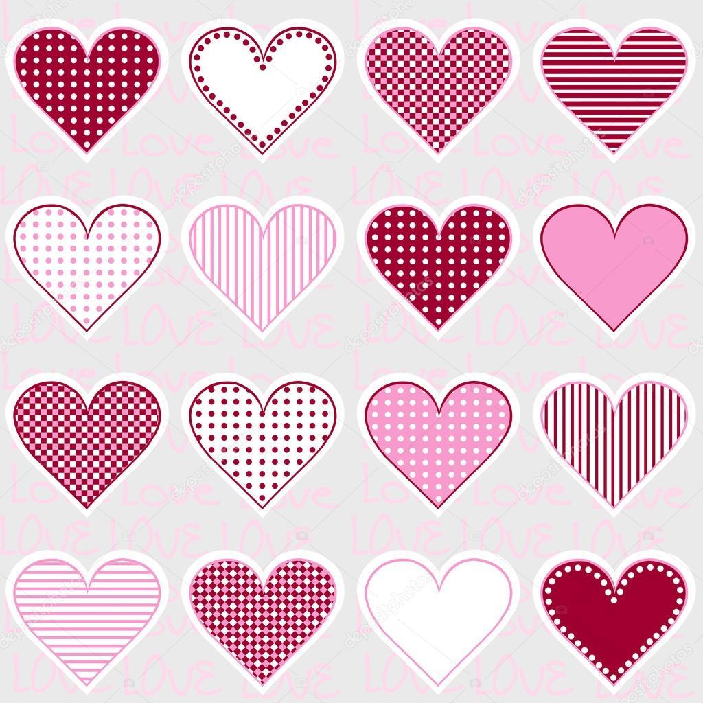 Amor fondo con marcos de corazón en el patrón de color de rosa, para ...