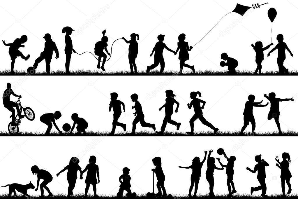 A Woman Playing Basketball Imágenes De Stock A Woman: Vector: Silueta Niños Jugando