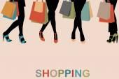 Fotografia Piedini di Siluette dellannata delle donne con tacchi alti e borse per la spesa