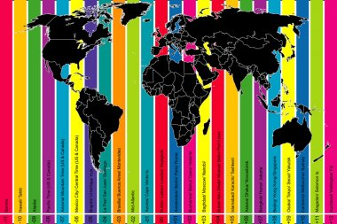 Colorful background with world map and time zones