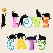 Fotografia Ti amo scheda scheda con siluette dei gatti