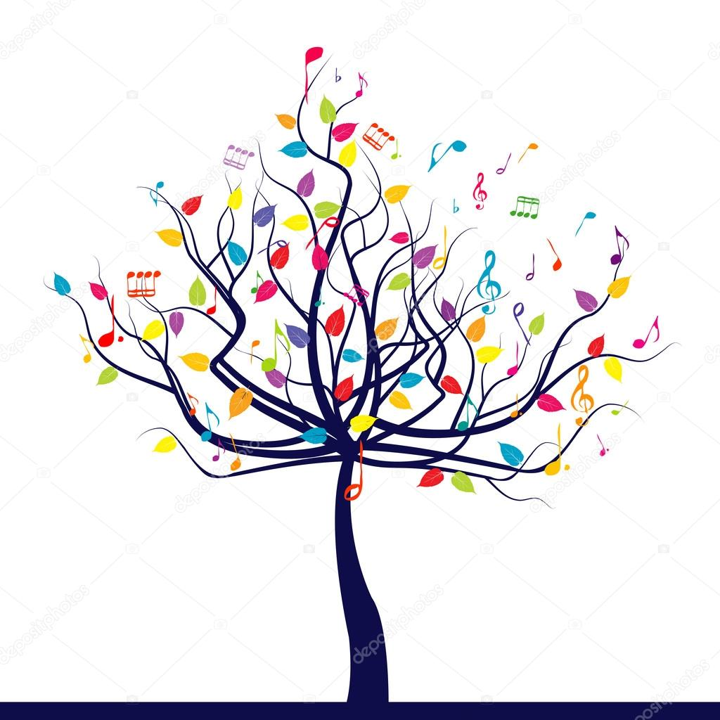 Musical tree over white background