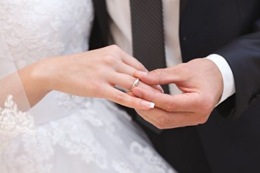 Hand of the groom and the bride with wedding rings at a wedding