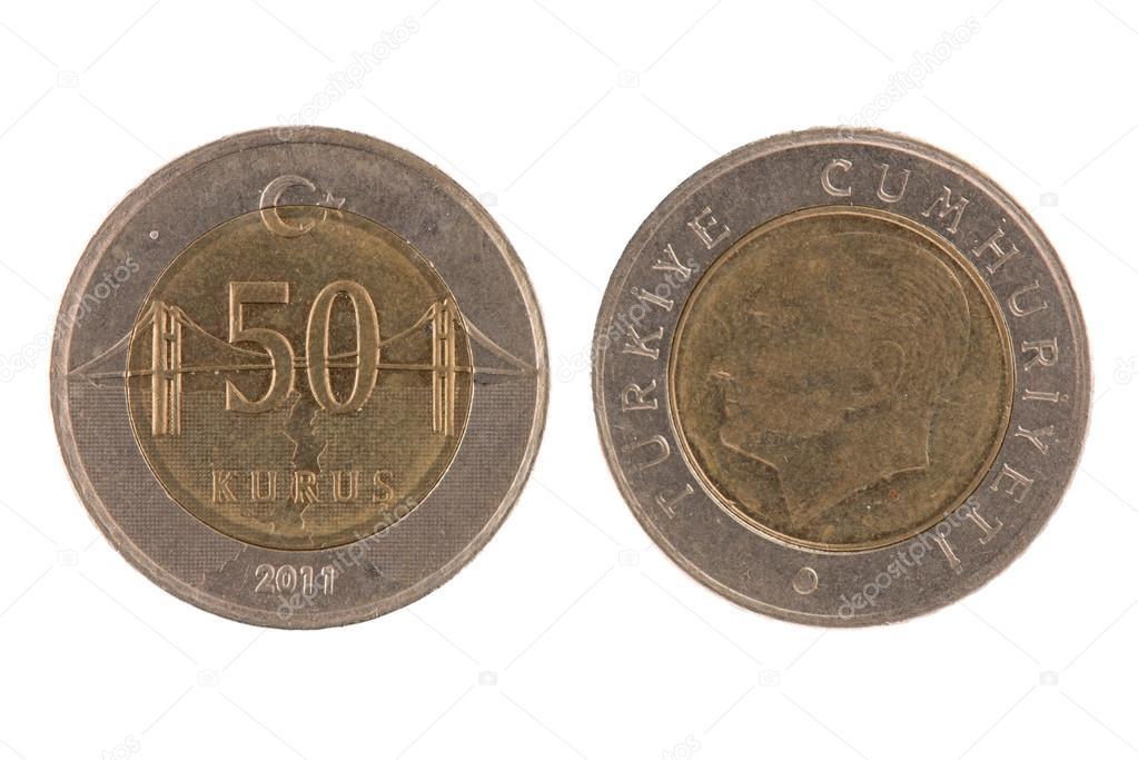 50 kurus turecki moneta na biaa ym tle na biaa ym tle zdja cie od homydesign