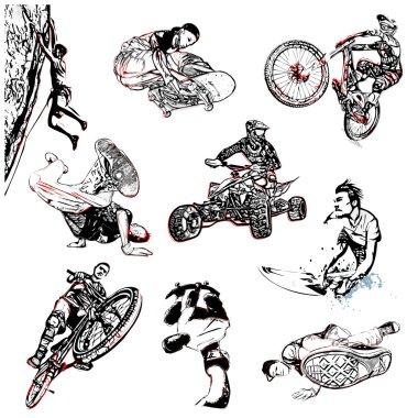 Extreme sport illustration on white background stock vector