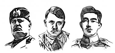 Mussolini, Hitler and Hirohito portraits
