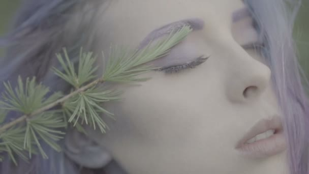 Closeup of beautiful woman in purple hair in coniferous forest - fairytale scene. Video of sensual beauty, branch from the tree touching and painting her face in slow motion.