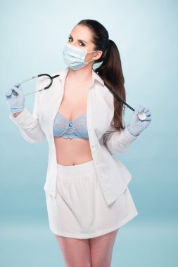 Sexy Medical Representative Showing her Cleavage