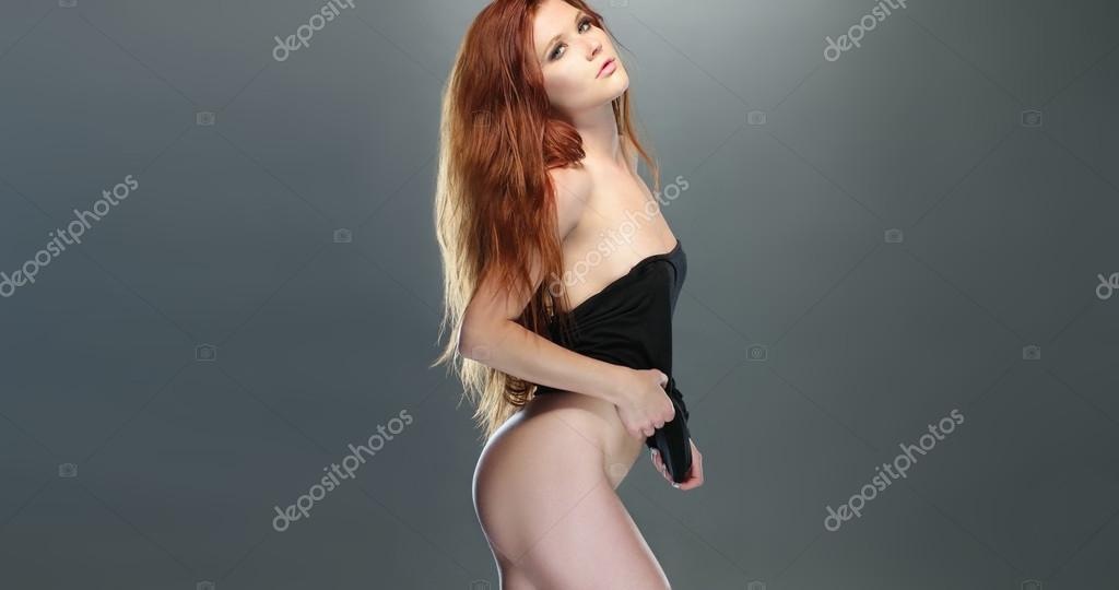 2c88246c6e9 Bottomless Sexy Woman Posing in Tube Tops Only — Stock Photo ...