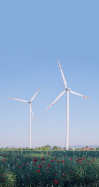 Two wind turbines in a rural landscape