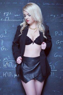 sexy blonde teacher wearing lingerie