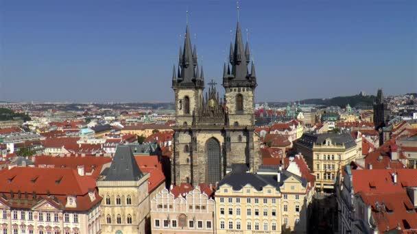 Kostel Matky Boží před Týnem, panorama Prahy. Kostel Matky Boží před Týnem, Praha, Česká republika.