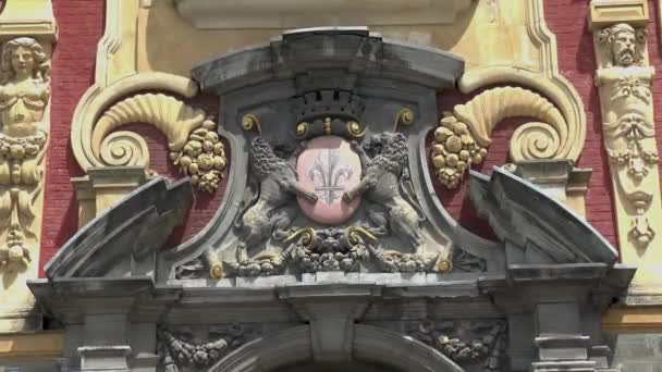 Építészeti elemek: címer a régi tőzsde, Vieille Bourse de Lille épület Óváros Lille, Franciaország.