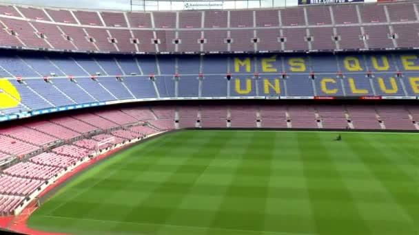 Prázdné stánky na největším fotbalovém stadionu v Evropě: Barcelona FC Camp Nou, Barcelona, Španělsko,