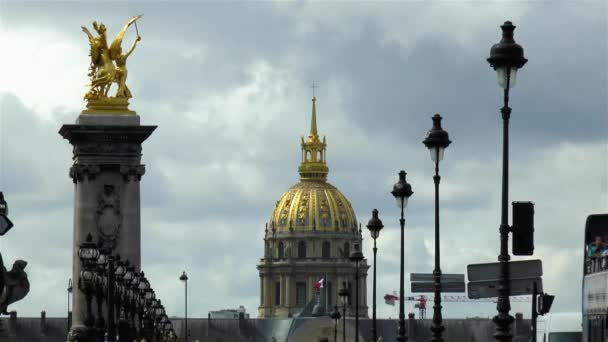 St Louis des Invalides Cathedrals dome, as seen from Pont Alexandre III in Paris, France.